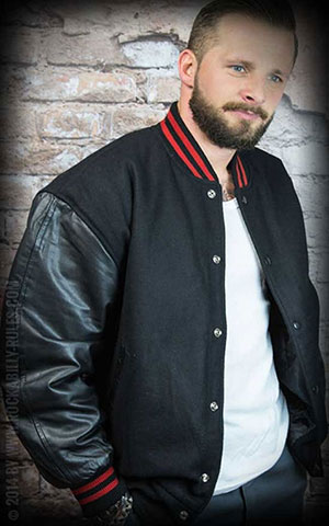 Leather baseball Jacket - Pure Black-