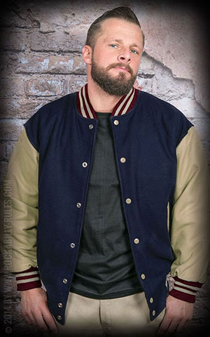 Leather Baseball Jacket - bleu marine/beige -