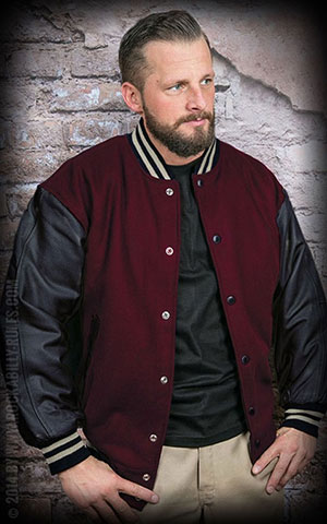Leather Baseball Jacket - bordeaux/black -