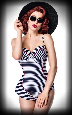 Belsira Retro Bathing Suit Striped Vivien, blue white