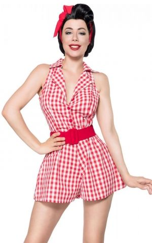 Belsira Retro jumpsuit Vichy, red white