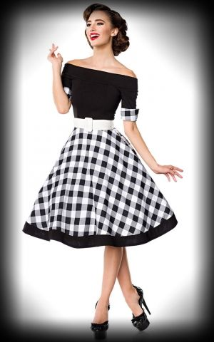 Belsira  - Off--the-Shoulder Swing Dress, black and white