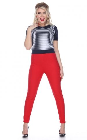 Bettie Page Cigarette Pant | Leggings, red