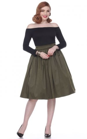 Bettie Page Clothing - Ellie Skirt, olive