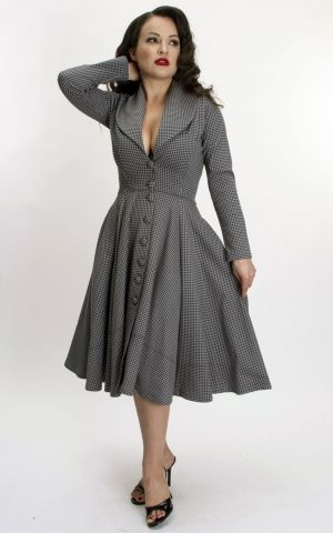 Bettie Page Clothing - Robe Ursula avec motif Houndstooth