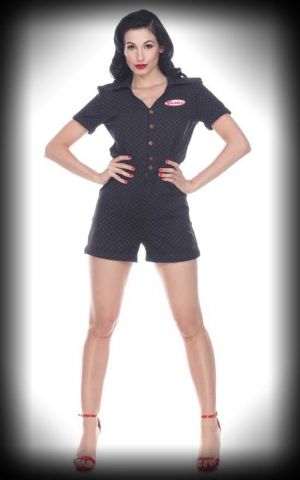 Bettie Page Clothing - Romper Pit Stop, Vichy
