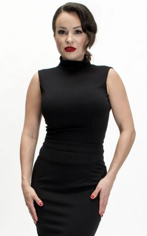 Bettie Page Clothing - Nicole Top, schwarz
