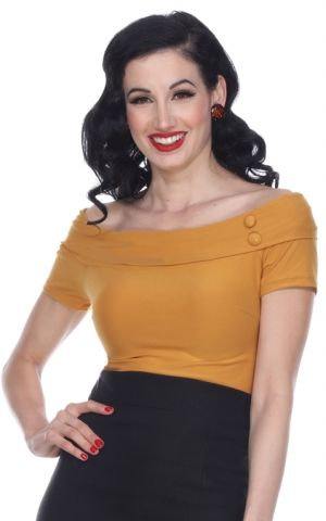 Bettie Page Clothing - Debby Top, mustard