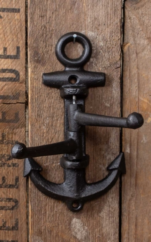 Movable cast iron coat hook anchor