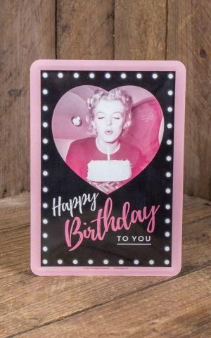 Blechpostkarte - Marilyn Monroe Happy Birthday
