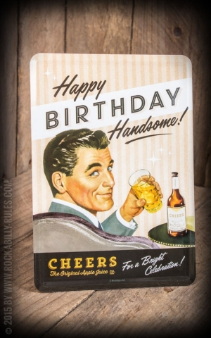 Tin plate postcard - Say It 50s Happy Birthday Man