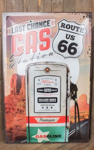 Blechschild 60 x 40 cm - Route 66 Gas Station