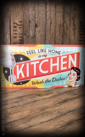 Tin plate sign 25 x 50cm Feel Like Home In My Kitchen