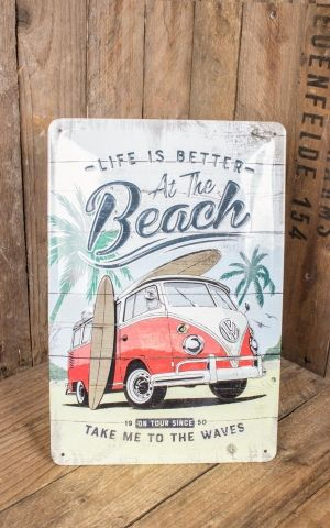 Vintage Tin-Plate Sign - VW Bulli Beach, 20 x 30 cm