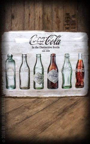 Blechschild Coca-Cola Bottle Timeline, 30 x 40 cm