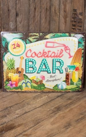 Plaque en métal 30 x 40cm Cocktail Bar