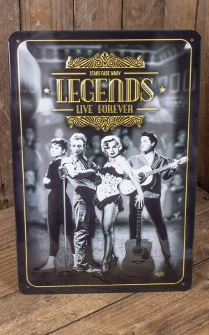 Plaque en Métal Vintage - Legends Live Forever, 20 x 30 cm