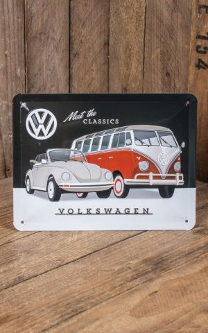 Tin plate sign 15 x 20cm VW - Meet The Classics
