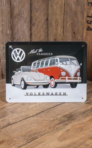 Blechschild 15 x 20cm VW - Meet The Classics
