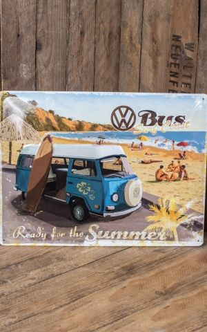 Tin plate sign 30 x 40cm VW Bulli - Ready for the Summer