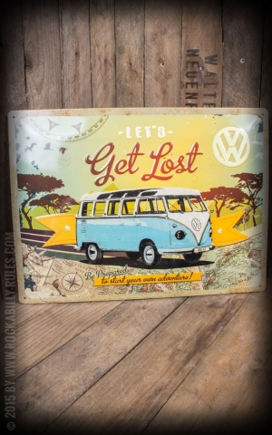 Tin plate sign 30 x 40cm VW Bulli Lets Get Lost