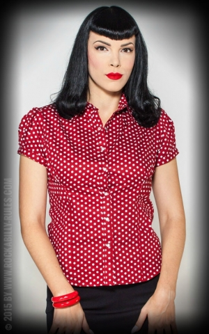 Rumble59 Ladies - Blouse - Sweet Polkadots - wine red
