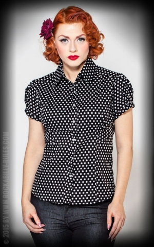Rumble59 Ladies - Blouse - Sweet Polkadots - black