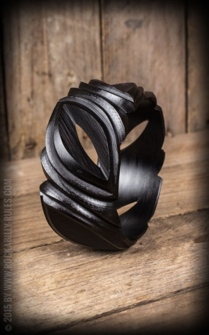 Wider Retro Vintage Bracelet in Leaf Design, black