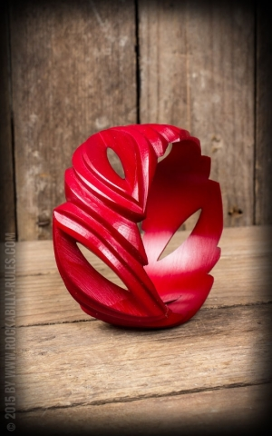 Wider Retro Vintage Bracelet in Leaf Design, red