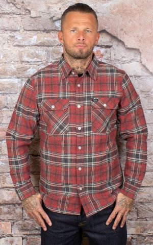 Brixton - Flannel Shirt Bowery Brick Steel