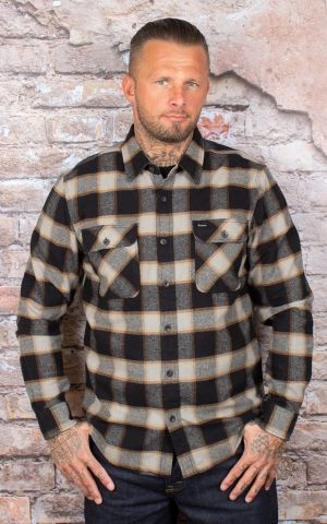 Brixton - Flannel Shirt Bowery Black & Cream