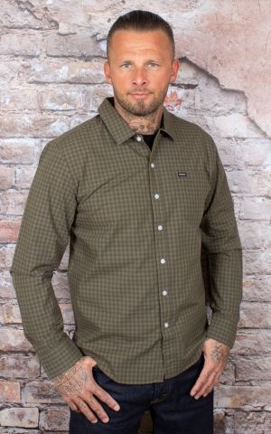 Brixton - Check Shirt Charter Plaid washed black olive