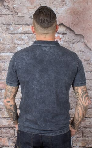 Brixton - Poloshirt | T-Shirt Wales Black Acid Wash