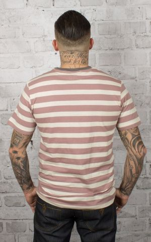 Brixton - Streifen T-Shirt Hilt Pocket Knit, mauve