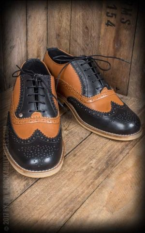 Steelground Wingtip Shoes, black and tan