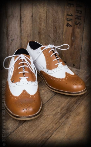 Steelground Wingtip Shoess, brown and white