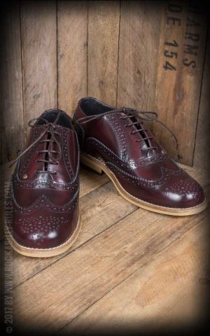 Steelground Wingtip Shoes, burgundy