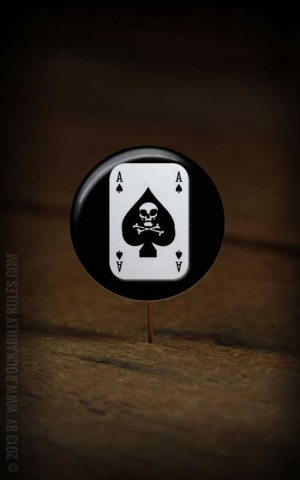 Button Spade Skull 118