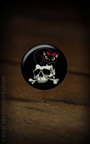 Button Skull & Cat 177