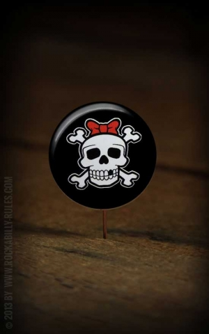 Button Girly Skull 263
