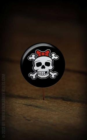 Button Girly Skull 263