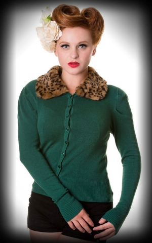 Cardigan - Vintage with fake-fur collar, green