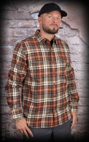 Carhartt - Long Sleeve Slim Fit Flannel Shirt, hellbraun