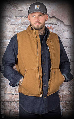Carhartt - Sandstone Mock-Neck Vest Sherpa Lined, brown