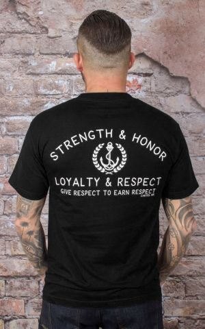 Cartel Ink Herren T-Shirt - Strenght, Honor, Loyalty, Respect, schwarz