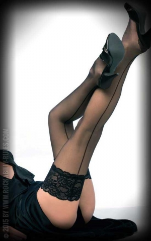 Nylons seamed Hold-ups with seam Salzburg, black
