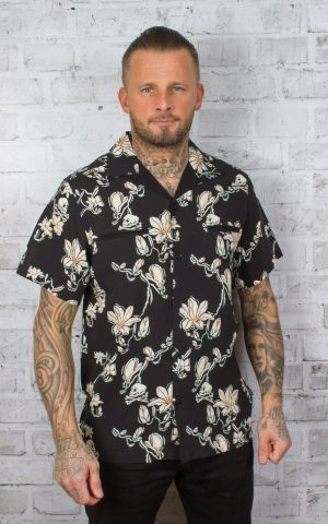 Chet Rock Hawaiian Shirt Skull and Flowers