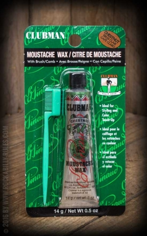 Clubman Pinaud - Moustache Wax Chestnut with comb