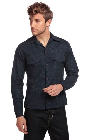 Collectif Adam Crosshatch Shirt, blau