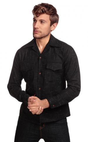 Collectif Adam Crosshatch Shirt, schwarz